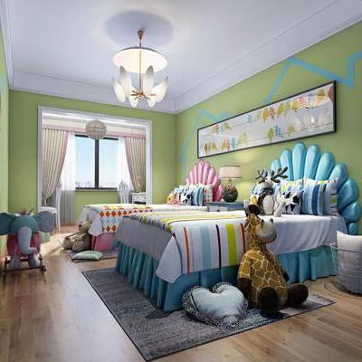 儿童房, 双人床, 边几, 台灯, 装饰画, 挂画, 吊灯, 玩具, 墙饰, 现代