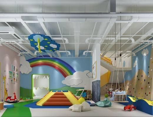 幼儿园, 背景墙, 玩具, 吊灯, 墙饰