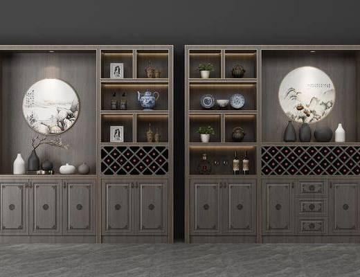装饰柜, 酒柜, 酒瓶, 圆框画, 装饰画, 挂画, 花瓶花卉, 摆件, 装饰品, 陈设品, 新中式