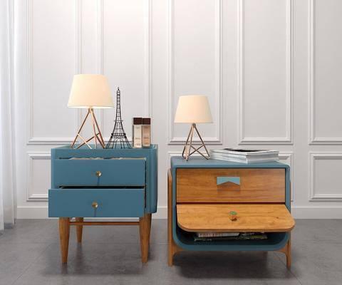 床头柜, 柜架组合, 台灯, 摆件组合