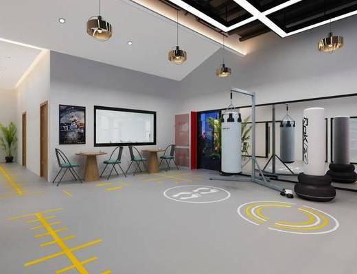健身室, 瑜伽室, 健身器材, 盆栽, 綠植植物, 吊燈, 工業風