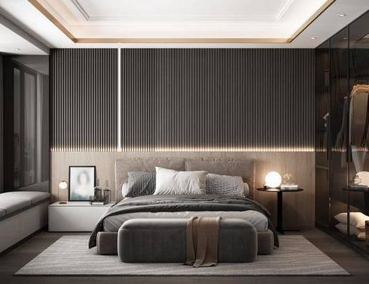 双人床, 衣柜, 床头柜, 摆件组合, 地毯