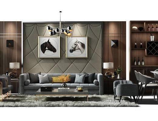 沙发背景墙, 背景墙, 壁灯, 挂画, 组合画, 装饰画, 盆景, 植物, 吊灯, 酒柜, 组合餐桌椅, 桌椅, 餐桌, 地毯, 沙发椅