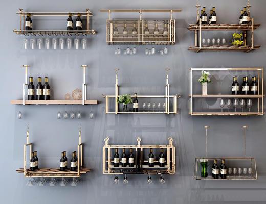 现代简约, 酒架, 置物架, 器皿
