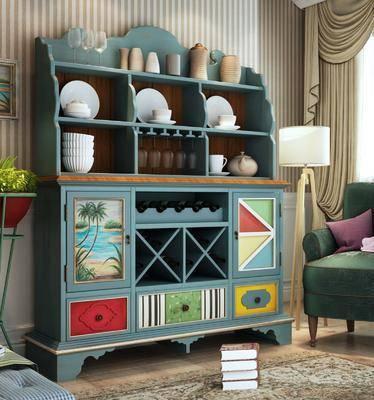 装饰柜, 边柜, 餐边柜组合, 单人沙发, 落地灯, 地中海