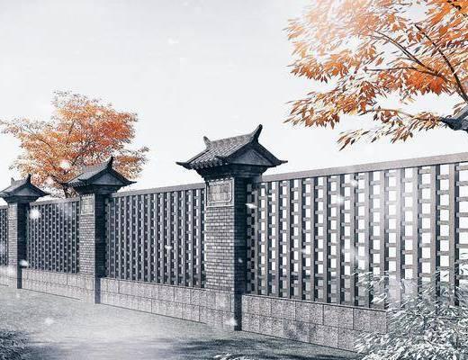 通透围墙, 护栏, 栅栏, 园林景观小品