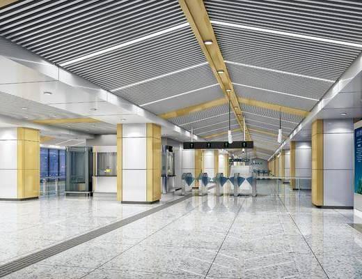 地铁车站, 展厅站台, 现代