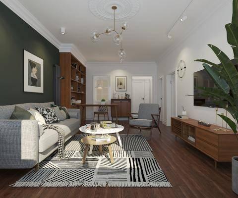 沙发组合, 吊灯, 电视柜, 地毯, 茶几, 双人床, 洗手盆, 壁镜