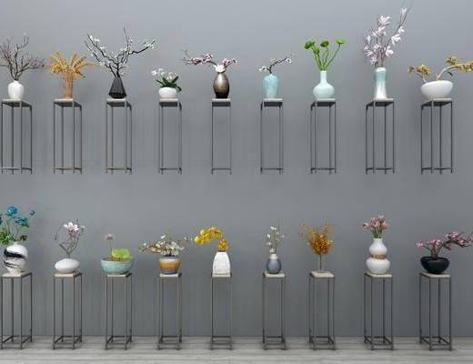 花瓶花卉, 摆件组合, 端景台, 新中式花瓶花卉, 新中式摆件, 干支, 新中式