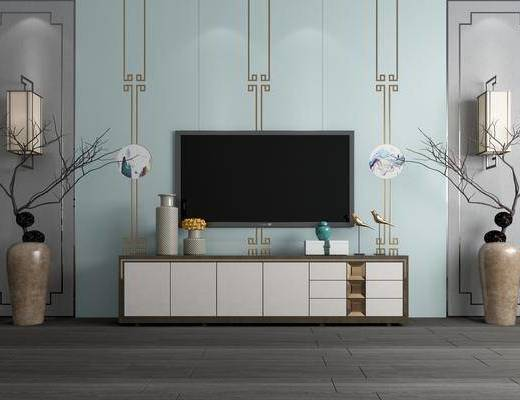 背景墙, 电视柜, 花瓶, 干树枝, 壁灯组合, 摆件, 装饰品, 陈设品, 新中式