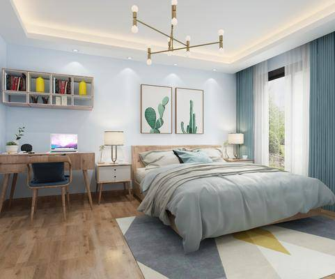 卧室, 北欧卧室, 床具组合, 床头柜, 双人床, 摆件, 挂画, 北欧