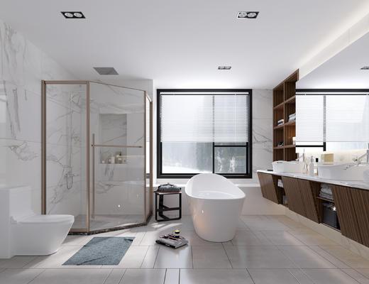 卫生间, 主卫, 淋浴间, 浴缸, 马桶, 浴室柜