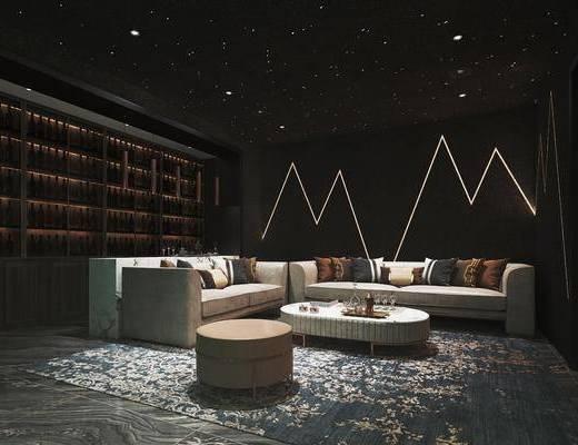 影音室, 沙发组合, 沙发茶几组合, 多人沙发