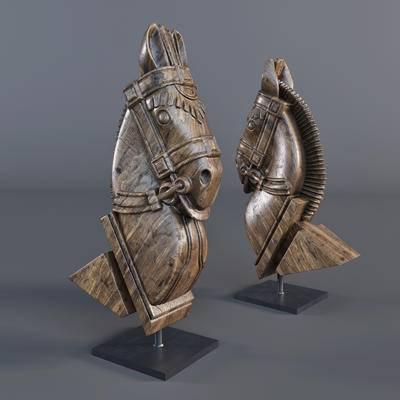 雕塑, 马头, 装饰品