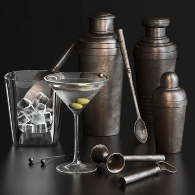 调酒瓶, 酒吧, 勺子, 冰, 现代