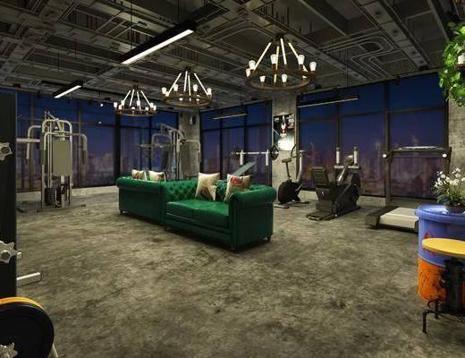 健身房, 吊燈, 沙發組合, 運動器械