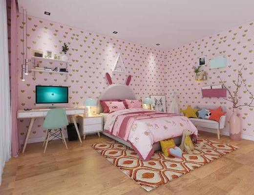 双人床, 书桌, 单人椅, 多人沙发, 床头柜, 吊灯, 台灯, 装饰画, 挂画, 现代