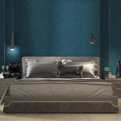 双人床, 床具组合, 吊灯, 床头柜, 摆件, 装饰品, 现代