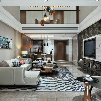 现代客厅, 现代, 客厅, 沙发组合, 吊灯, 椅子, 电视柜, 台灯