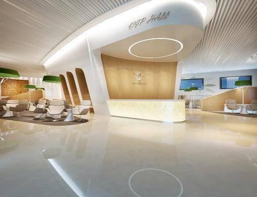 机场, 大厅, 接待台, 单椅, 边几