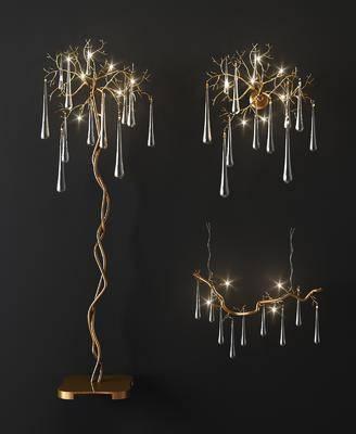 落地灯, 金属树枝水晶灯, 现代