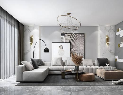 客厅, 沙发组合, 吊灯, 装饰画, 茶几, 摆件组合, 单椅