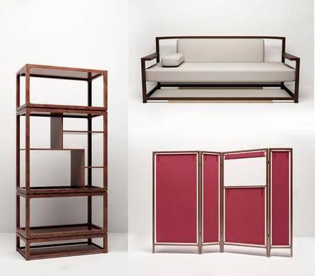 多人沙发, 屏风组合, 置物柜, 书架