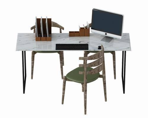 办公桌, 单人椅, 电脑, 摆件, 装饰品, 陈设品, 北欧