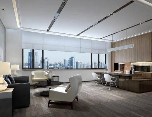 老总室, 办公区, 现代办公室, 经理, 沙发, 椅子