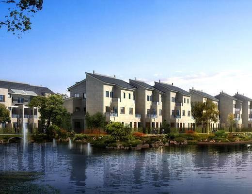 中式园林建筑, 别墅, 外景, 外观