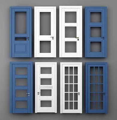 平开门, 玻璃门, 木门, 现代