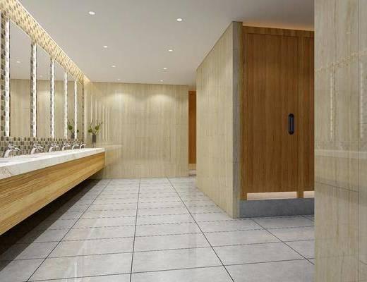 公共卫生间, 装饰镜, 洗手台, 小便器, 现代