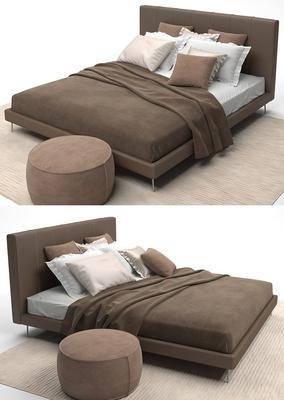 双人床, 脚踏, 被子, 凳子, 抱枕, 布艺, 现代