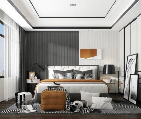 双人床, 装饰画, 床头柜, 台灯
