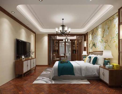 卧室, 新中式, 中式, 床, 电视柜, 吊灯, 壁灯, 床头柜, 台灯