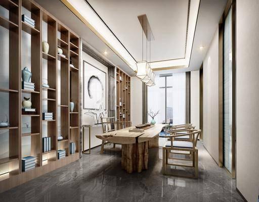桌椅组合, 装饰柜, 墙饰, 吊灯