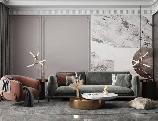 吊灯, 沙发组合, 单椅, 茶几, 摆件组合
