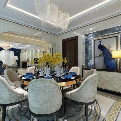 餐厅, 欧式餐厅, 现代餐厅, 桌椅组合, 餐桌椅, 餐具