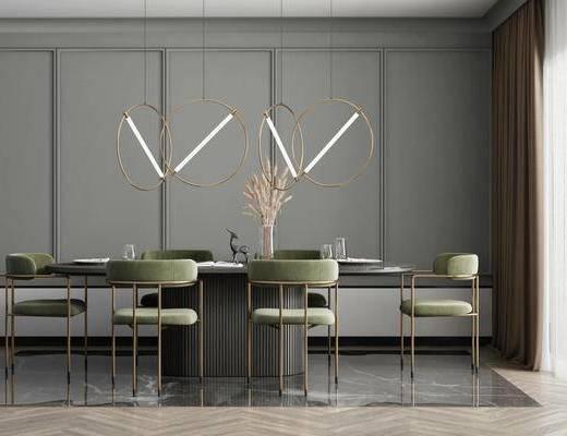 餐桌, 吊灯, 桌椅组合, 餐具组合, 花瓶