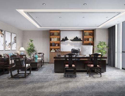 办公室, 多人沙发, 茶几, 单人椅, 边几, 台灯, 装饰画, 挂画, 书籍, 书柜, 办公桌, 办公椅, 电脑, 新中式