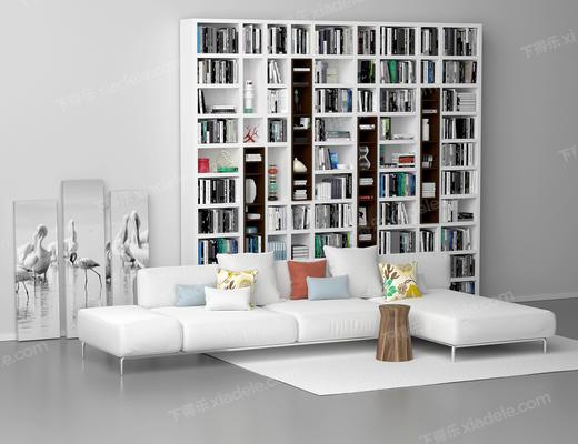 转角, 沙发, 书柜, 画, 沙发组合, 沙发茶几组合