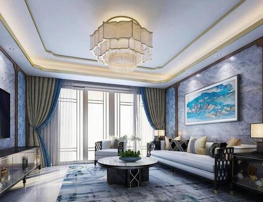 沙发组合, 抱枕, 茶几, 吊灯, 装饰画, 电视柜, 窗帘