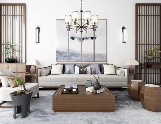 沙发组合, 多人沙发, 茶几, 凳子, 单人沙发, 壁灯, 吊灯, 装饰画, 挂画, 组合画, 边几, 台灯, 边柜, 盆栽, 绿植植物, 摆件, 装饰品, 陈设品, 新中式