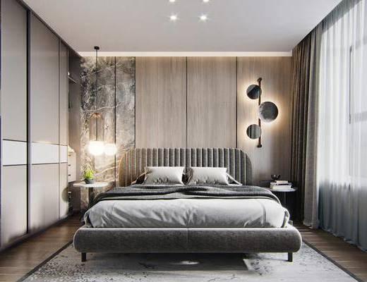 双人床, 墙饰, 衣柜, 吊灯, 床头柜