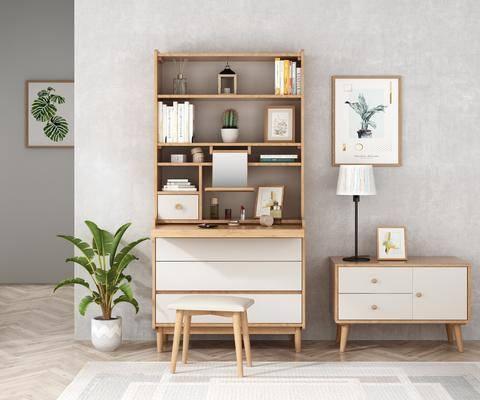 书柜, 梳妆台, 边柜, 摆件