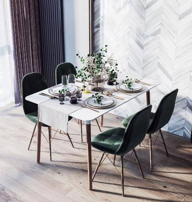桌椅组合, 北欧桌椅组合, 餐桌, 摆件组合, 餐具