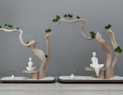 干枝树, 沙子佛像, 园艺小品, 摆件组合, 景观园林, 盆景, 松树, 新中式