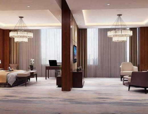 酒店套房, 臥室, 床具組合, 邊柜組合, 擺件組合, 吊燈, 沙發組合, 現代