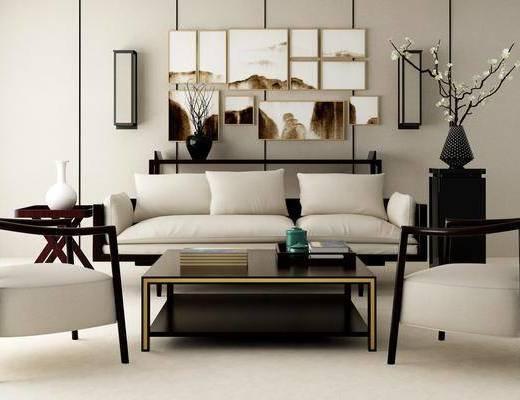 多人沙发, 茶几, 装饰画, 挂画, 壁灯, 单人椅, 新中式