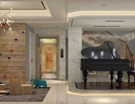 儿童乐园, 钢琴, 吊灯, 玩具, 装饰柜, 边柜, 书柜, 墙饰, 摆件, 装饰品, 陈设品, 美式